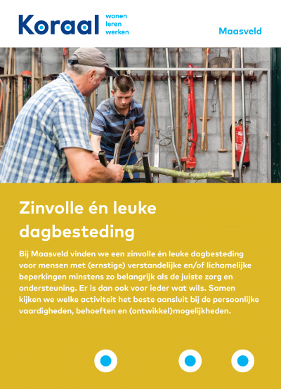 Flyer 'Zinvolle én leuke dagbesteding Maasveld'